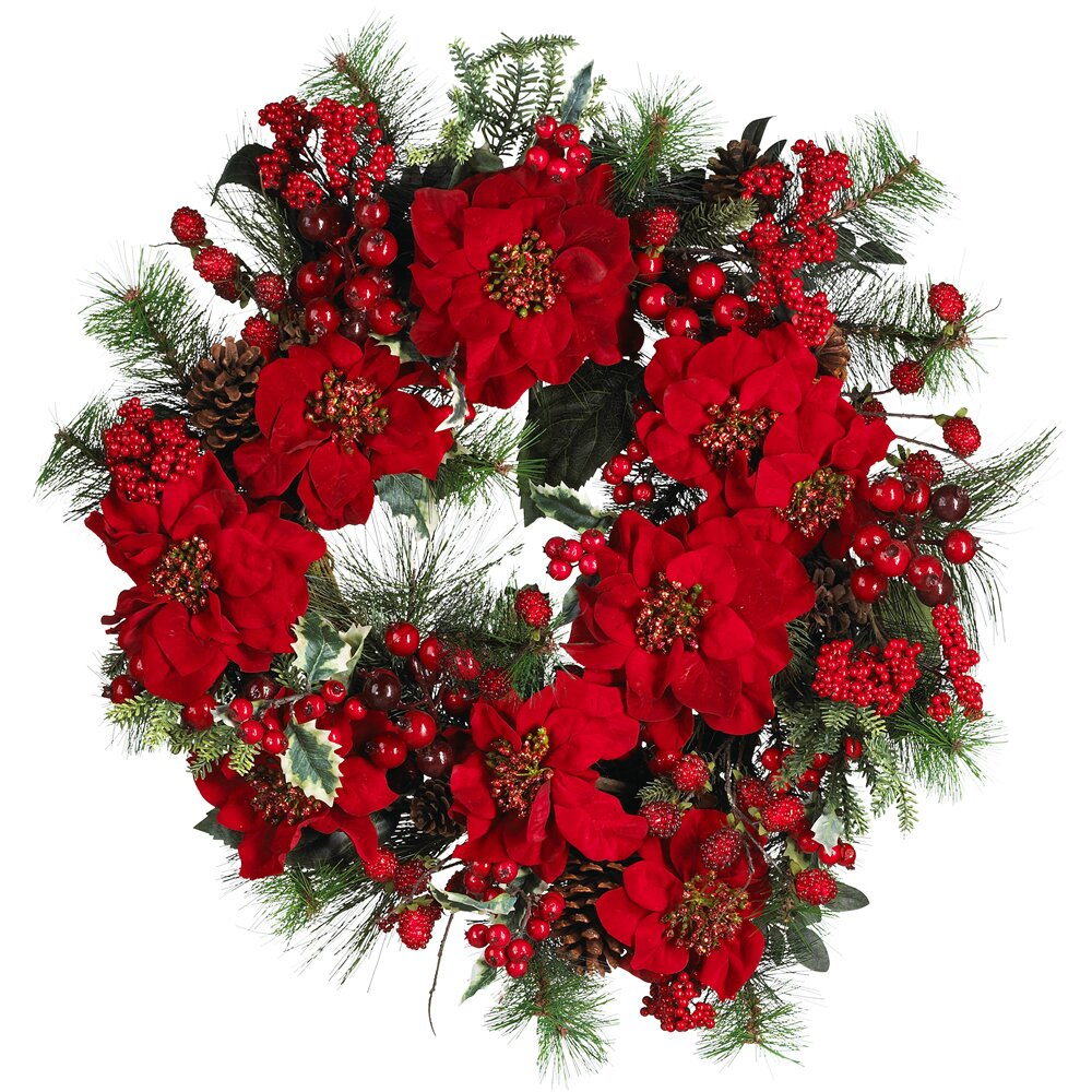 24 Inch Deep Red Poinsettias, Plump Berries and Lush Green Pinecones Wreath