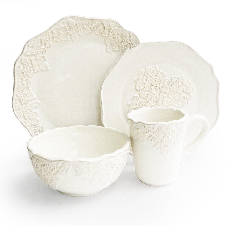 Quality China Dinnerware American Atelier Bianca Medallion Piece Dinnerware Set Rb