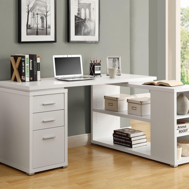 White l Shaped Desk Corner Desk in White