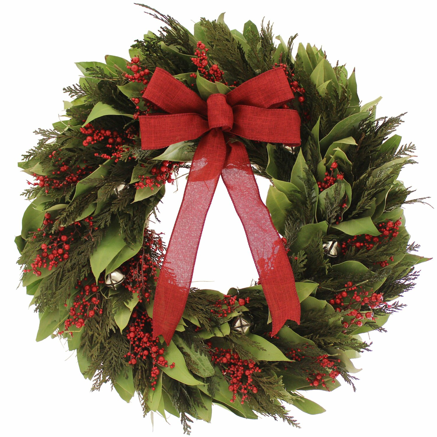 18 Inch Jingle Bell Preserved Wreath  Natural Leaves  Green Cedar Red Berries  Natural Twig Base