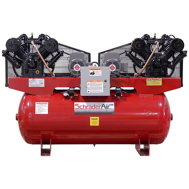 Quiet Air Compressor Reviews Schrader International Duplex Professional Series Two Stage Hp