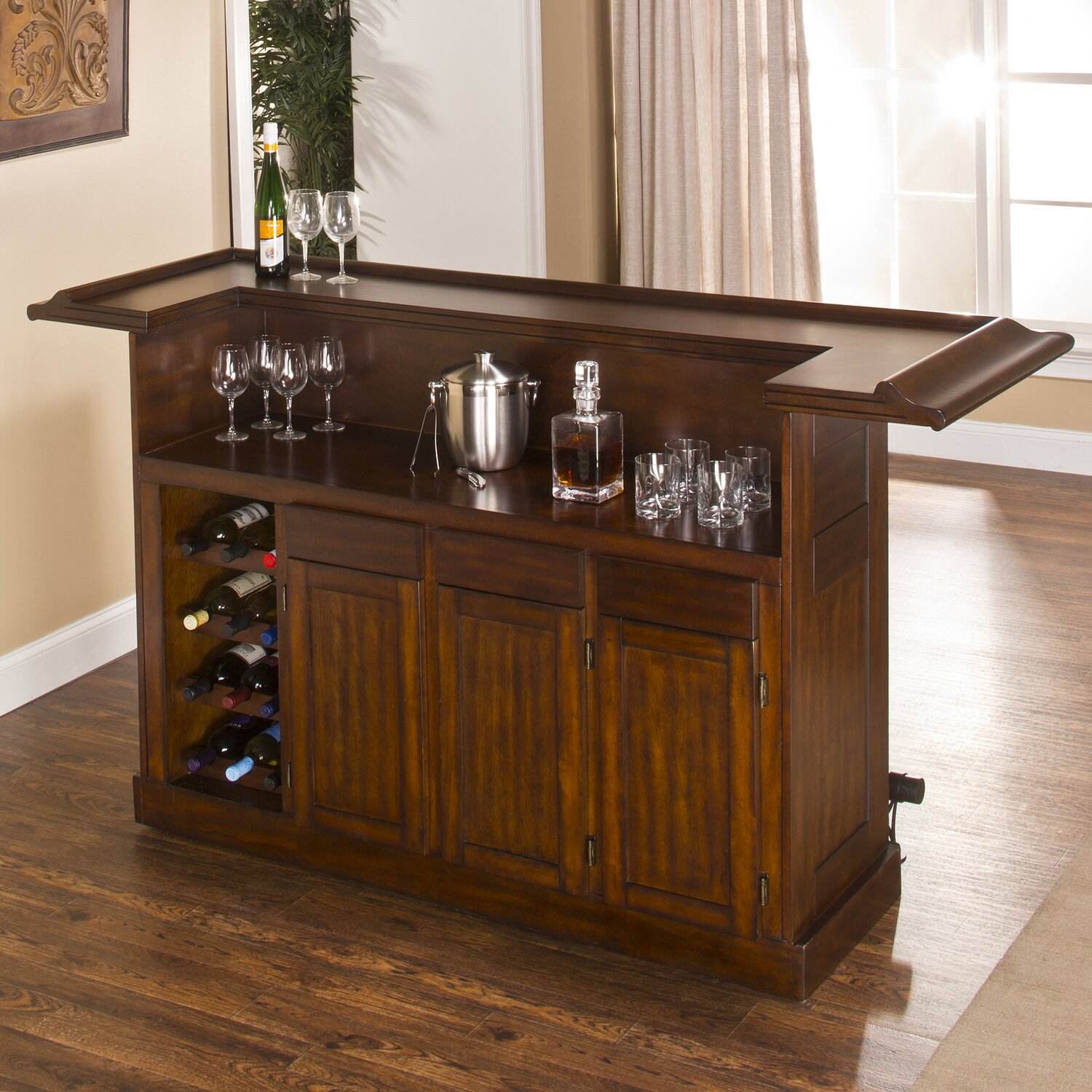A bar cabinet with Wine bottles.