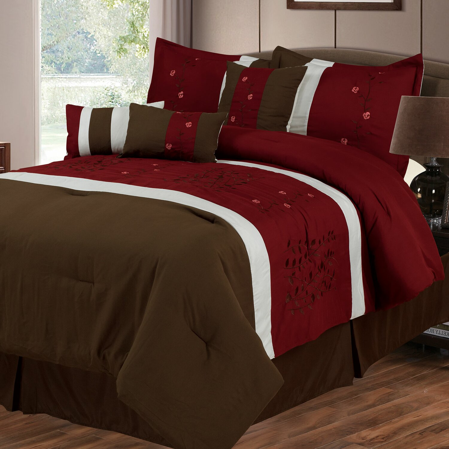 red and brown bedding set