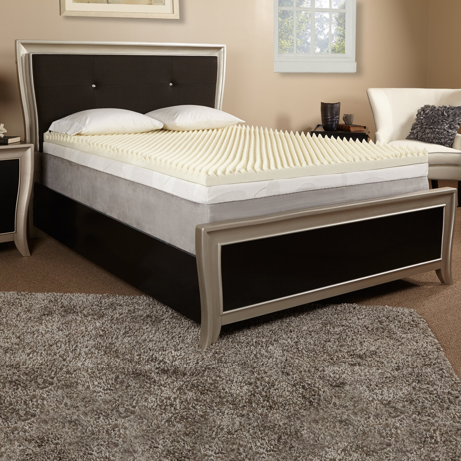 """Who Sells The Cheapest 4"""" KING SIZE COMFORT SELECT 5.5 MEMORY FOAM MATTRESS PAD BED TOPPER On Line"""