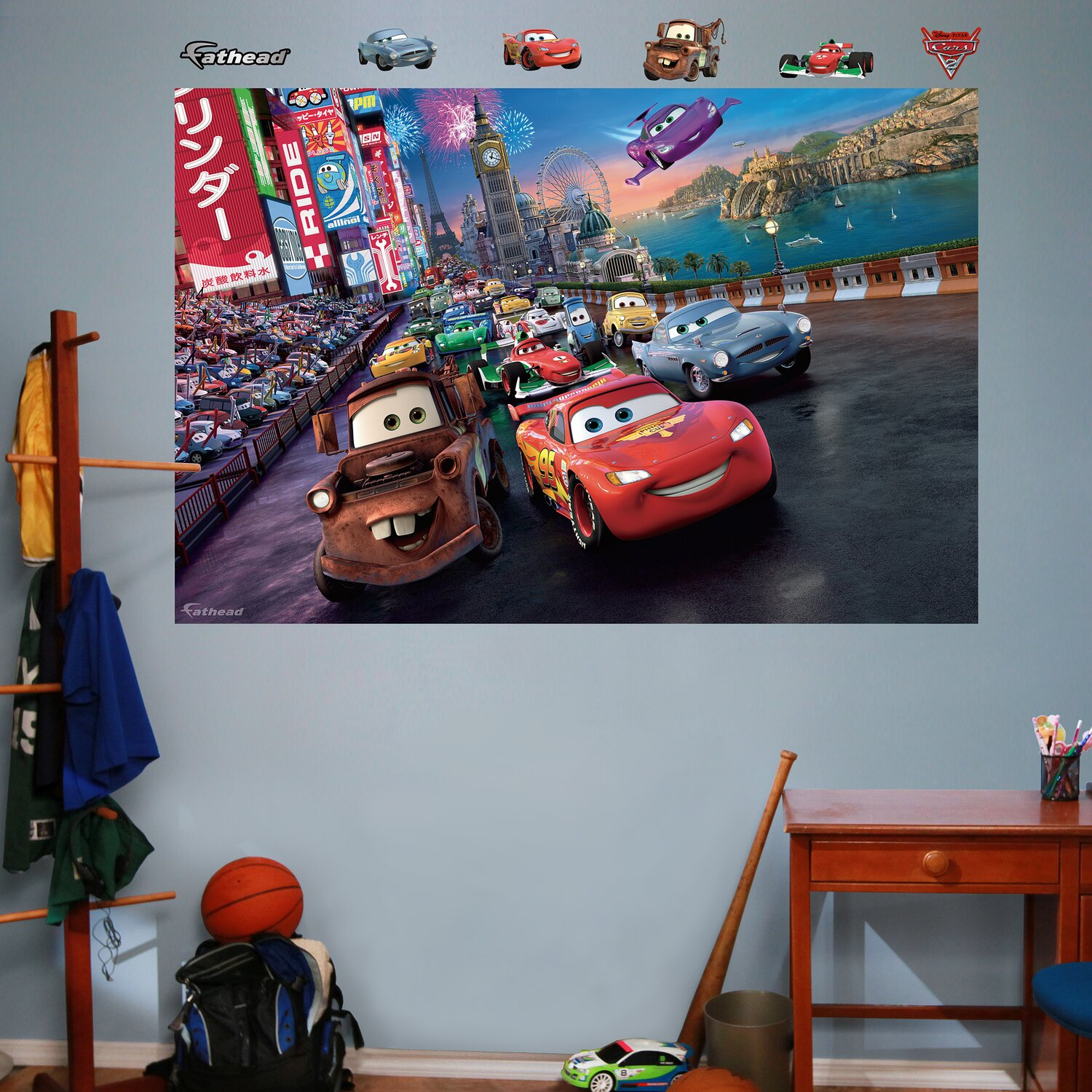 Disney cars wall mural full wall huge wall mural disney for Disney cars wall mural full wall huge