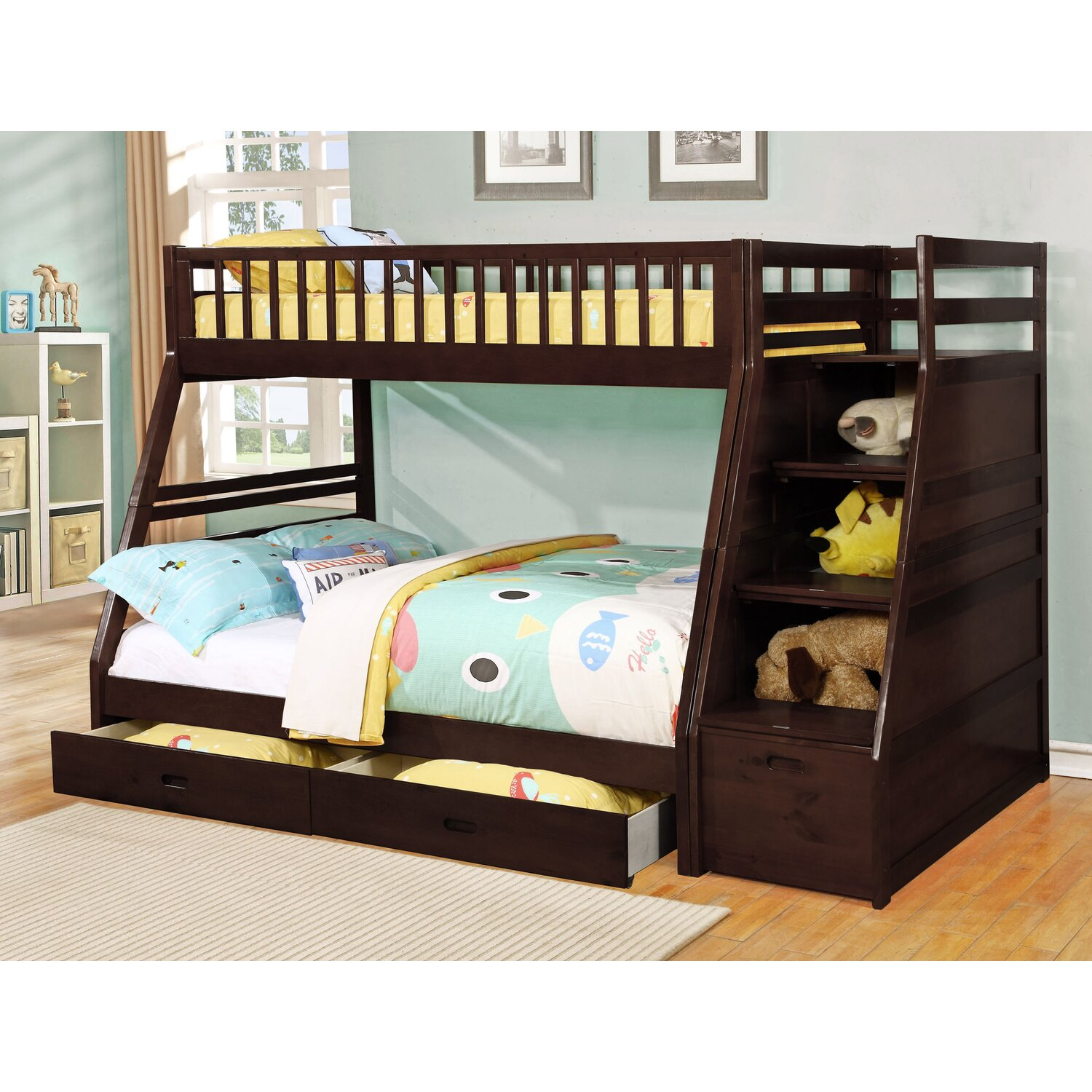 Amazing photo of Twin over full bunk bed has 2 drawers under the bed and has extra  with #9B6A30 color and 1500x1500 pixels
