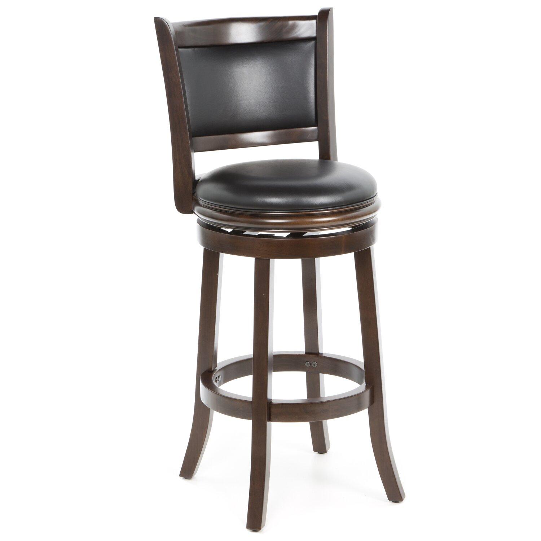 Swivel Bar Stool Brown Faux Leather Seat Cushion Wood