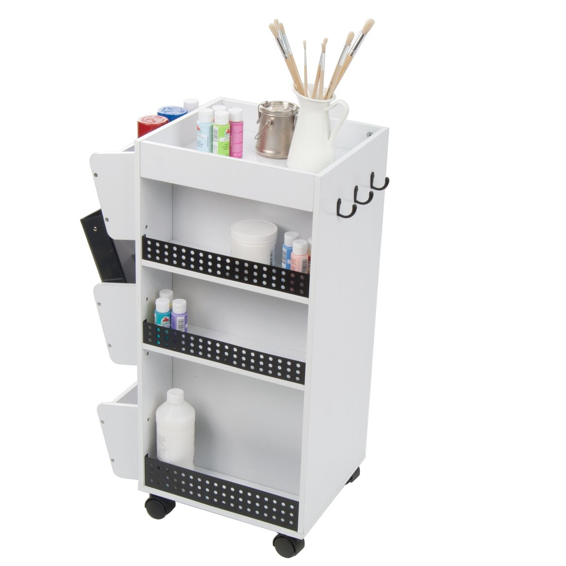 a rolling cart with bins and a table top to hold your crafting supplies