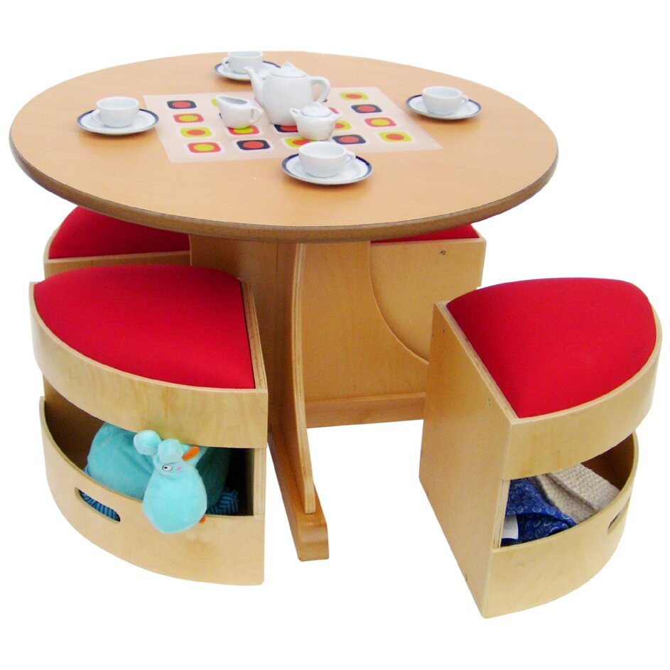 5 Piece Round Table and Stools Set - Space Saver