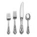 Wallace Sterling Silver Rose Point 4 Piece Dinner Flatware Set