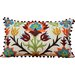 Auburn Textile Embroidered with Pom Pom Edges Throw Pillow
