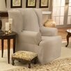 Sure-Fit Cotton Duck Wing Chair T-Cushion Slipcover