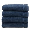 Linum Home Textiles Luxury Hotel & Spa Herringbone Weave 100%Turkish Cotton Hand Towel (Set of 4)