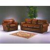 Omnia Furniture Cheyenne 3 Seat Leather Sofa Set