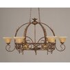 Toltec Lighting Leaf 8 Light Chandelier Pot Rack with Crystal Glass Shade
