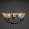 Toltec Lighting Bow 5 Light Up Chandelier with Crystal Glass Shade