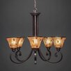 Toltec Lighting Curl 5 Light Up Chandelier with Pen Shell Shade