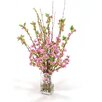 Distinctive Designs Waterlook® Silk Fuchsia Pear Blossoms in Square Glass Vase
