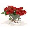 Distinctive Designs Waterlook Roses in Wiggle Glass Vase