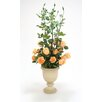 Distinctive Designs Silk Light Peach Roses and Rose Hips with Custard Apples in Almond Sleek Urn