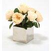 Distinctive Designs Silk Champagne Cabbage Roses in Square Nickel Planter