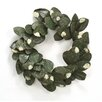 Distinctive Designs Artificial Laurel Leaf Wreath with Flocking and Gold Accents (Set of 6)