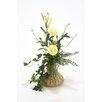 Distinctive Designs Silk Floral Ranunculus Arrangement in Fluted Vase