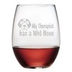 "Susquehanna Glass ""My Therapist Has a Wet Nose"" Stemless Wine Glass (Set of 4)"