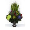 Bougainvillea Metal Trophy Small Vase with Pensularia, Clover and Phylica and Hydrangea
