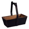 Antique Revival Rectangular Planter with Wooden Handle