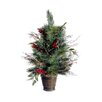 Tori Home 2.2' Potted Pine Cone Berry Winter Vermont Pine Artificial Christmas Tree with Unlit