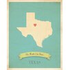 Children Inspire Design My Roots Texas Personalized Map Paper Print