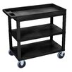 Luxor E Series Heavy Duty Utility Cart with 2 Tub/1 Flat Shelves