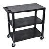 Luxor E Series Utility Cart with 3 Flat Shelves