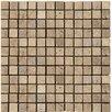 "Emser Tile Natural Stone 1"" x 1"" Travertine Mosaic Tile in Mocha"