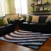 DonnieAnn Company 3D Shaggy Abstract 2-Tone Large Wave Blue/Brown Area Rug
