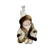 Alpine Boy with Coat and Hat Sitting Cross Legged Statue