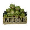 Alpine Polyresin Welcome Sign with Frog Family Statue