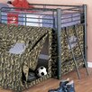 Wildon Home ® G.I Low Loft Bed with Slide and Tent