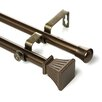 Trumpet Double Curtain Rod and Hardware Set