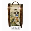 Oriental Furniture Ladies Wine Box in Golden Brown Crackled Matte Lacquer