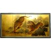 """Oriental Furniture 36"""" x 72"""" Gold Leaf Tigers on the Move 4 Panel Room Divider"""