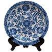 Oriental Furniture Floral Decorative Plate in Blue & White