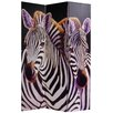 "Oriental Furniture 70.88"" x 47.25"" Elephant and Zebra 3 Panel Room Divider"
