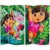 "Oriental Furniture 71"" x 47.25"" Tall Double Sided Dora and Friends 3 Panel Room Divider"