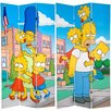 "Oriental Furniture 84"" x 51"" Tall Double Sided Simpsons Kids 3 Panel Room Divider"
