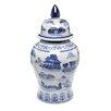 Oriental Furniture Landscape Temple Decorative Urn