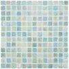 "EliteTile Colgadilla Square 0.88"" x 0.88"" Glass Mosaic Tile in Agua Mother of Pearl"