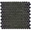 "EliteTile Penny 0.75"" x 0.75"" Porcelain Mosaic Tile in Black"