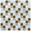 "EliteTile Chroma 0.875"" x 0.875"" Glass and Natural Stone MosaicTile in Manzanilla"